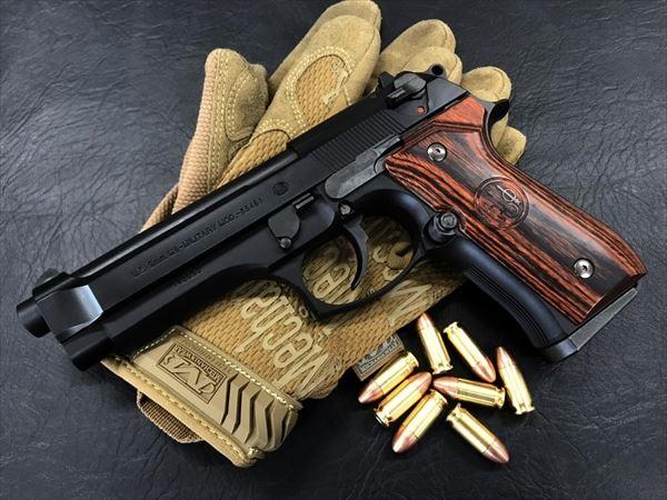 Wood Grip U.S.M9/M9A1 [Smooth logo / Brown]