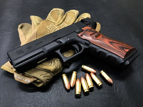 Wood Grip Glock 17 / 18C [Smooth / Brown]