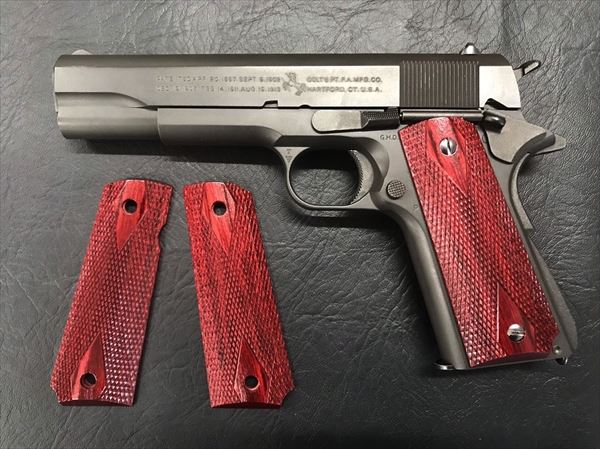 Wood Grip Government / 45 AUTO (Diamond Checker / Red)