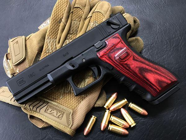 Wood Grip Glock 17 / 18C [Smooth / Red]