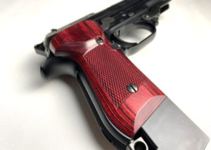 Wood Grip MARUI M93R (Checker / Red)