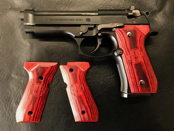 Wood Grip U.S. M9 / M9A1 (Smooth logo / Red)